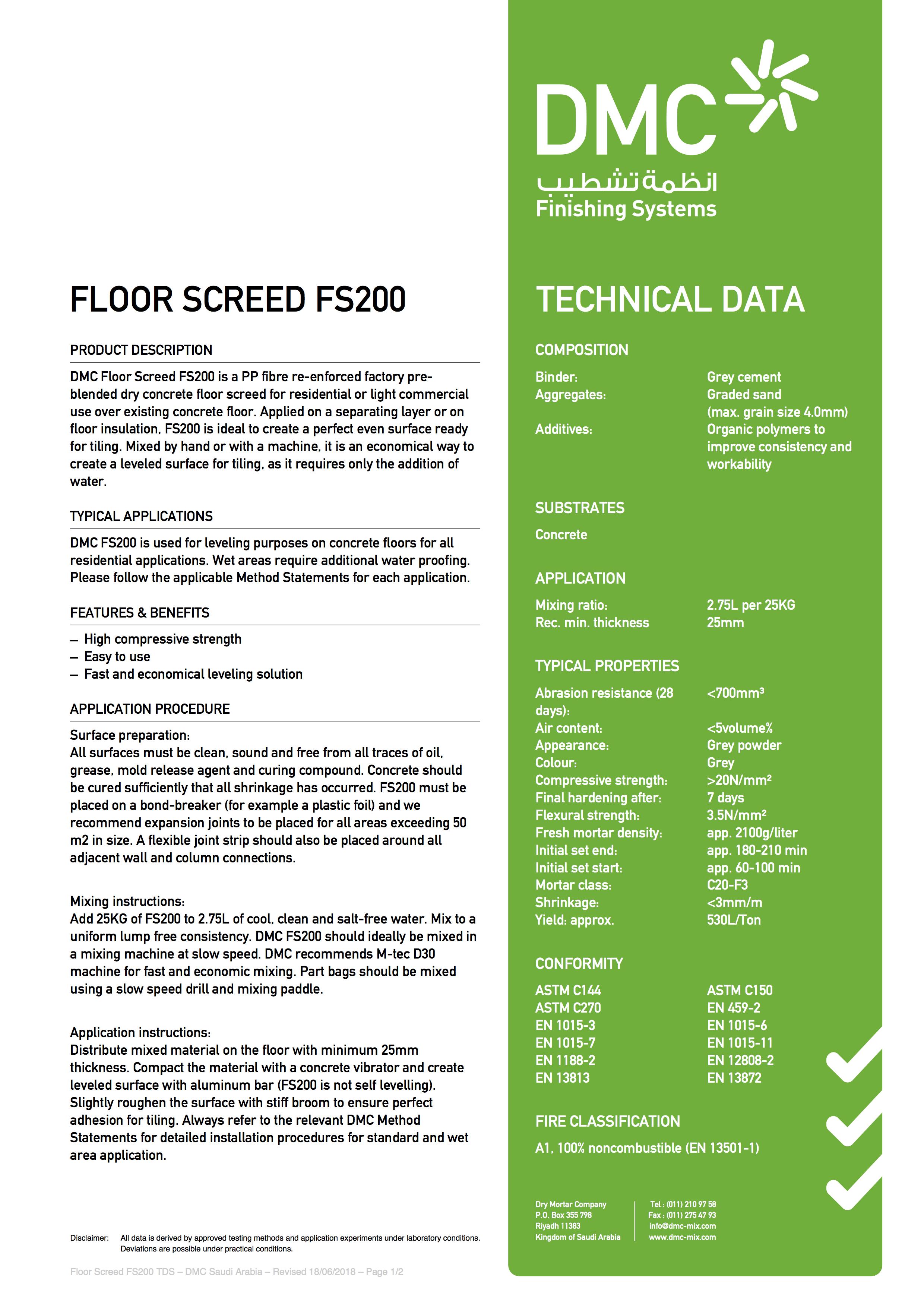 DMC Mix | Floor Screed FS200
